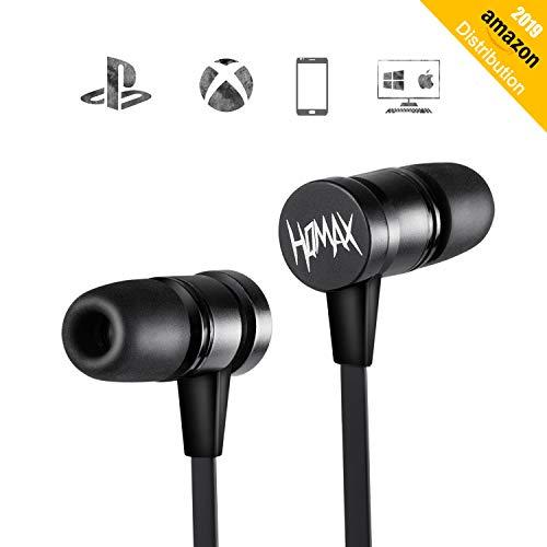 HQMAX Warhammer In-Ear-Kopfhörer mit Mikrofon - Hi-Fi Ohrhörer aus Metall, TIEFER STARKER Bass, Geräuschisolation, High Definition, (Schwarz)