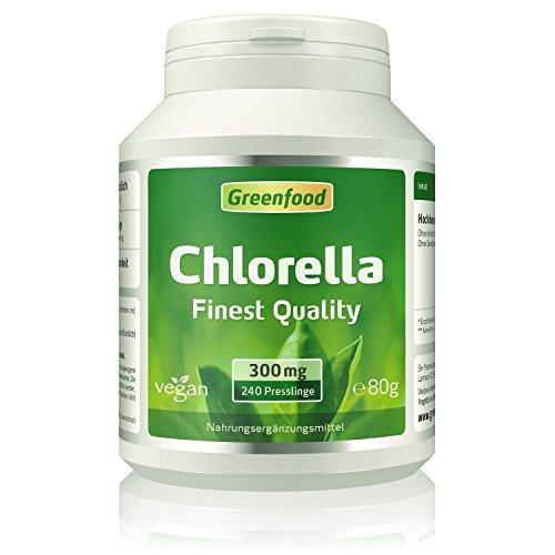 Greenfood Chlorella, 300 mg, 240 Presslinge, ohne künstliche Zusätze
