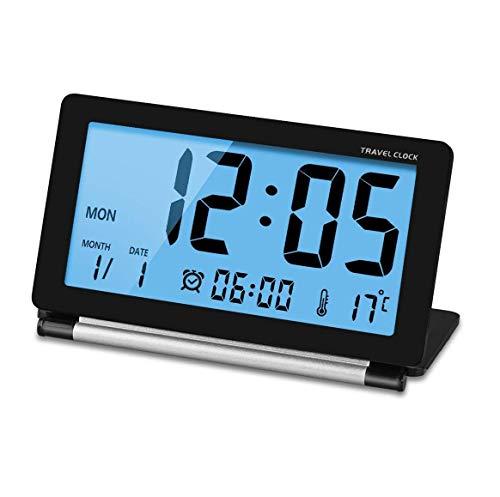 Manfore Reisewecker, Batteriebetrieben Digitaler Reisewecker/Digitalwecker / Tischuhr mit Nachtlicht, Schlummerfunktion, LCD Temperatur/Datums Anzeige für Zuhause Büro Reise benutzen (Schwarz)