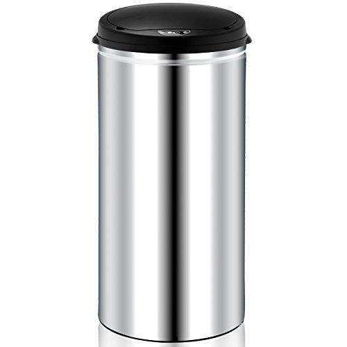 Deuba Sensor Mülleimer 56L Abfalleimer Automatik Müllbehälter Abfallbehälter Edelstahl Papierkorb mit Bewegungssensor und Deckel silber