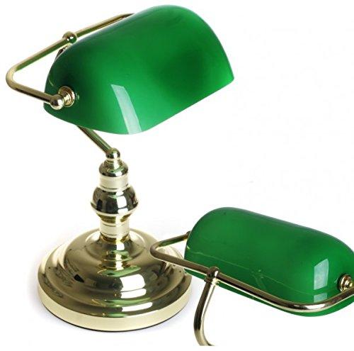 messing polierte Bankerlampe mit grünem Glas