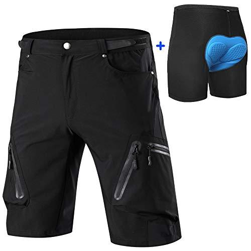 ALLY MTB Hose Herren Radhose, Wasserabweisend Mountainbike Kurz, Outdoor Sport Fahrradhose Herren Shorts (Schwarz mit gepolstert, L (Taille: 30.5'-32.5', Hüfte: 37.5'-39.5'))