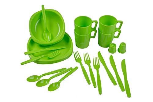 Camping Geschirr Set, Outdoor Plastikgeschirr und Besteck Set, Picknickgeschirr, Besteckset, 26 Teile, bruchfest