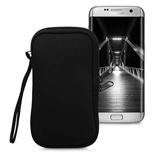 kwmobile Handytasche für Smartphones L - 6,5' - Neopren Handy Tasche Hülle Cover Case Schutzhülle Schwarz - 16,2 x 8,3 cm Innenmaße