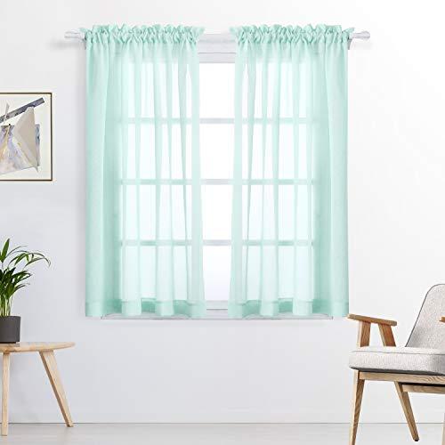 FLOWEROOM Stange Tasche Transparent Voile Gardinen Voile Vorhänge, 160 x 140 cm(H x B), 2 Stück, Aqua, 2er Set