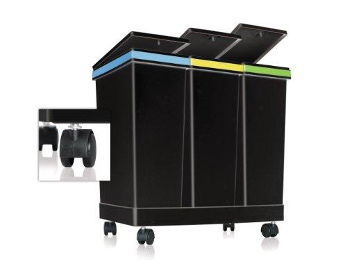 Smarty ECOBIN 3Behälter für Mülltrennung 63LT insgesamt–55cm x 34cm x 50cm H