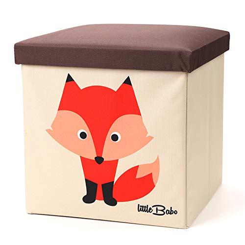 little Babo Faltbare Aufbewahrungsbox Kinder - groß & stabil zum sitzen - Spielzeug-Kiste mit Deckel - Aufbewahrung im Kinderzimmer - Regal-Korb - Storage Box - Aufbewahrungskorb Kinderzimmer - Fuchs