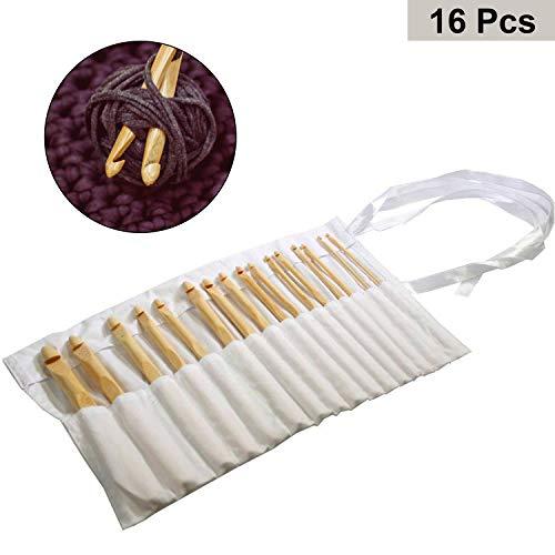 Curtzy 16 tlgs. Set 15cm großer Bambus Häkelnadeln Ergonomisches Nadel Set in Baumwolltasche - Perfekt zum Häkeln, Spitzen, Blumen u. Dekorative Projekte - Ideal für Anfänger und Professionelle