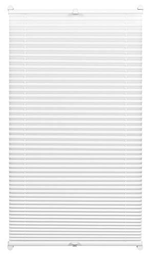 GARDINIA Plissee zum Klemmen, Blickdichtes Faltrollo, Alle Montage-Teile inklusive, EASYFIX Plissee verspannt mit zwei Bedienschienen, Weiß, 75 x 130 cm (BxH)