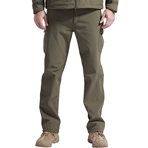 FREE SOLDIER Outdoor vollständig Herren Softshell Fleece gefüttert Walking Hose wasserdicht Winddicht Warm Winter Hose (Grün 38)