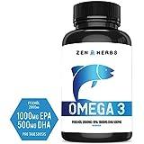 Omega 3 Kapseln - Hochdosiert Fischöl 2000mg mit 1000mg EPA & 500mg DHA pro Tagesdosis - Hohe Stärke - Frei von Gentechnik und Gluten - Hergestellt in Deutschland - 100 Kapseln