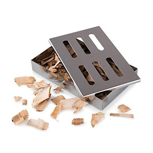 Räucherbox | Smoker Box | Smokebox | Smokerbox | Grillzubehör für Gasgrill, Kohlegrill, Kugelgrill | Verleiht Ihrem Grillgut Das Besondere Aroma | Rostfreier Stahl | Spülmaschinenfest | von Blumtal