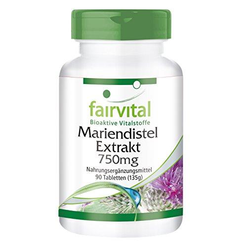 Mariendistel Extrakt 750mg, standardisiert auf 80% Silymarin, 600mg Silymarin pro Tablette, vegan, 90 Tabletten
