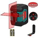 Kreuzlinienlaser, 15M HYCHIKA Selbstnivellierend Linienlaser mit Dualem Lasermodul 360°Umschaltbar Horizontal/Vertikal mit Halterung, Schutztasche und 2 x AA Batterie