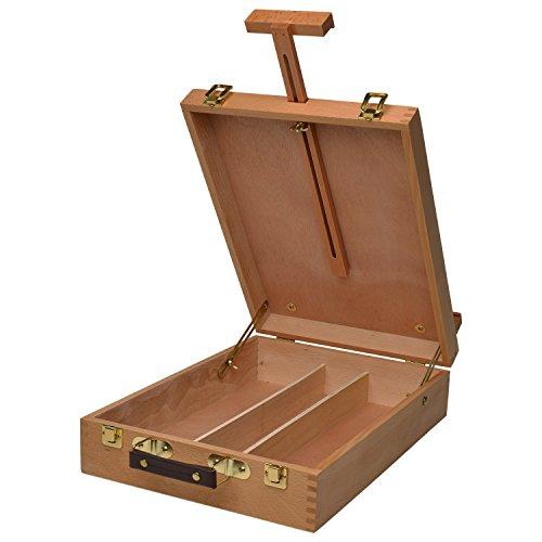 Artina Koffer-Staffelei Nancy aus Buchen-Holz Tisch-Staffelei mit 3 Fächern und Tragegriff für Keilrahmen bis 66 cm