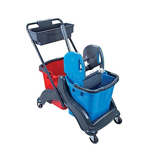 Doppelfahrwagen mit 2 Eimern in Rot/Blau (je 25 Liter), Reinigungswagen mit Wisch-Mopp-Presse und Ablagekorb, Putzwagen aus Kunststoff für Büro, Schule, Arzt-Praxis