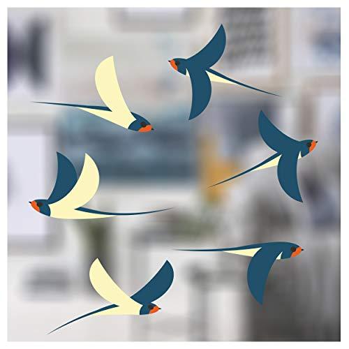Stickers4 Vogel Fensteraufkleber zum Schutz vor Vogelschlag - 6 schöne Schwalbe Glassticker, doppelseitig und selbstklebend zum Schutz vor Vogelkollisionen