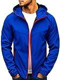 BOLF Herren Softshell Funktionsjacke Kapuze Fleecefutter Outdoor Sportlicher Stil J.Style 56007 Blau L [4D4]