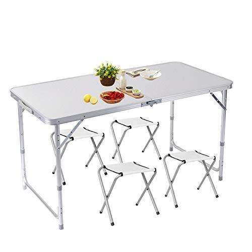 lillimasy 120cm Campingtisch Klapptisch Gartentisch Höhenverstellbar Tragbar Faltbar Picknicktisch Geeignet für Drinnen und Draußen - Mit 4 Stühle