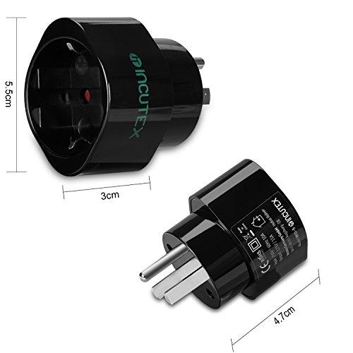 Incutex 2x USA Reiseadapter US Reisestecker EU USA Adapter travel plug usa Typ B Steckdosenadapter USA Kanada, schwarz