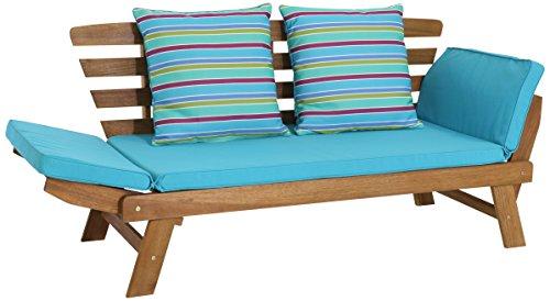 greemotion Multifunktionsbank Borkum akazie/blau, inklusive Kissen, als Sofa und Liege nutzbar, Gartenbank aus FSC Akazienholz, Holzbank mit leicht schräger Rückenlehne