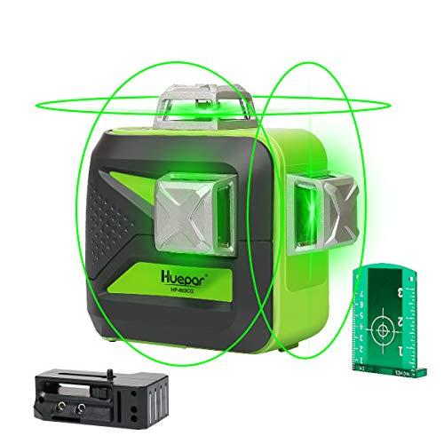 Huepar 603CG 3 x 360 Kreuzlinienlaser Grün, 360 Grad Linienlaser Selbstnivellierenden Laser Level mit Pulsfunktion, 25m Arbeitsbereich, (inkl. Universal Lithiumbatterie, AA Batterie und Halterung)