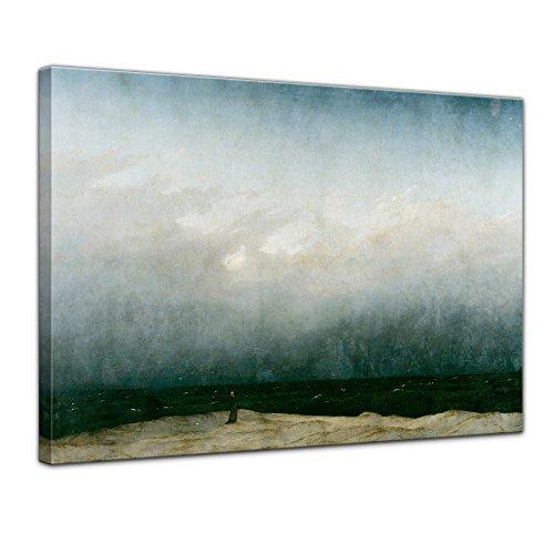 Wandbild Caspar David Friedrich Der Mönch am Meer - 80x60cm quer - Alte Meister Leinwandbild Kunstdruck Bild auf Leinwand