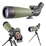 Gosky 2019 Spektiv Vogelbeobachtung 20-60 x 80 Porro Prism Spektiv - Abgewinkeltes BAK4-Teleskop - Neuestes wasserdichtes Spektiv für das Schießen von Zielen Jagd Vogelbeobachtung Wildlife Scenery