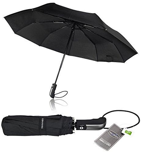Regenschirm Schirm Taschenschirm Umbrella Trekkingschirm Wanderregenschirm Sturmfest Herren, windfest 150 km/h wasserabweisend Teflon-Beschichtung klein leicht transparent 95 cm TRAVANDO (Schwarz)