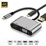 USB C auf VGA HDMI Adapter, 4 in 1 Hub Type C zu HDMI VGA Buchse USB 3.0 Pd3.0, Port Type C Adapter USB C Hub für Apple MacBook Pro/Air, iMac, Huawei P20/Mate 20 Pro, Samsung S8/S9 Note8/9,Laptops usw