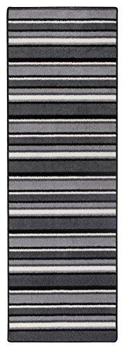 Teppichläufer Kurzflorteppich Streifendesign Läufer mit Streifen Küchenläufer – Wohnzimmer Eingangsbereich Flur Küche – mehrfarbig gekettelt strapazierfähig pflegeleicht – 65cm x 200cm schwarz/weiß