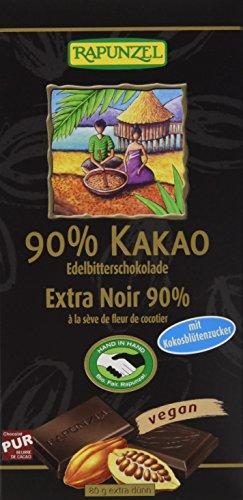 Rapunzel Bitterschokolade 90% Kakao mit Kokosblütenzucker HIH, 12er Pack (12 x 80 g)