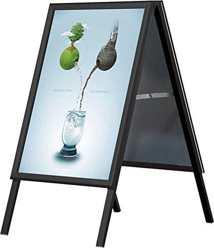 DISPLAY SALES Kundenstopper SCHWARZ DIN A1 | Plakatständer mit 32mm Profil | Gehrungsecken, Stahlrückwand