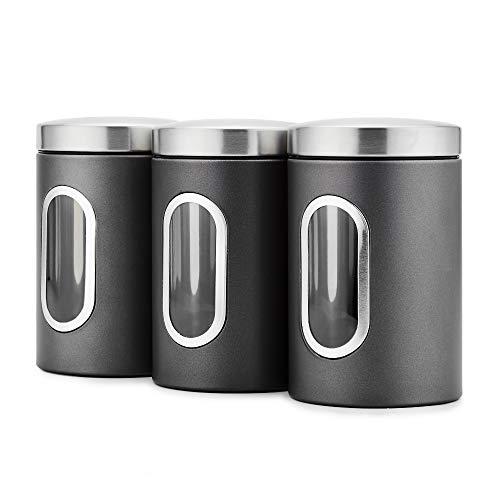 Blusea 3 Stück Vorratsdose Lebensmittel Aufbewahrungsbehälter Edelstahl Luftdicht Vorratsbehälter mit Deckel und Transparentem Sichtfenster für Tee, Getreide, Trockenfrüchten, Tiernahrung 1.5L (Grau)