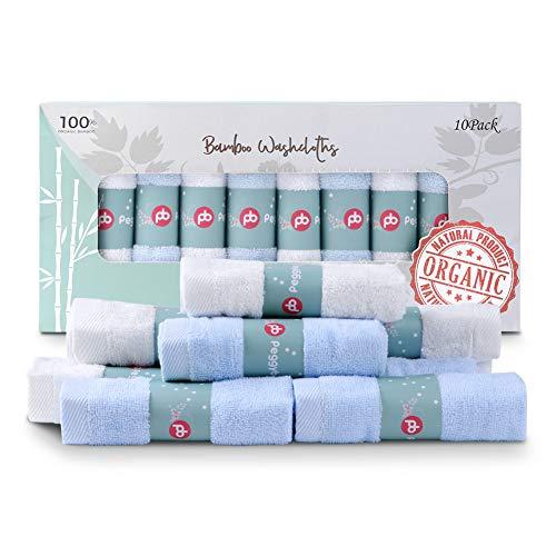 Bambus Baby Waschlappen 10 Pack (12'X12') | 100% Bambus, Ultra-weich, super absorbierende Handtücher | Schonend auf empfindliche Haut für Säuglinge, Kleinkinder, Erwachsene