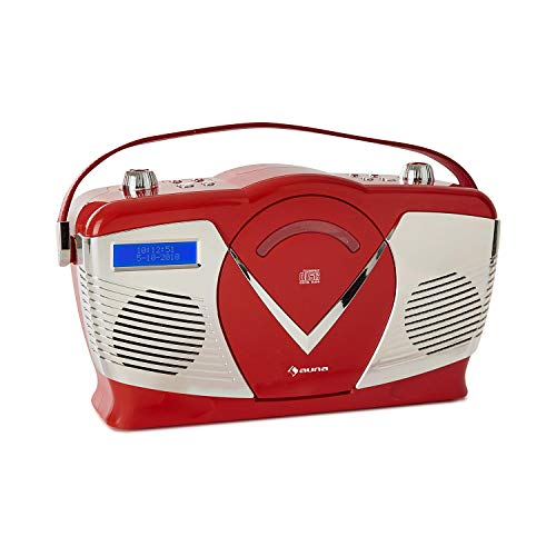 auna RCD-70 Retro DAB CD-Radio Nostalgie Radio (UKW/DAB+ Radio, MP3-fähiger USB-Port, Bluetooth, frontlader CD- / MP3-Player, AUX-IN, Kopfhörerausgang, Batteriebetrieb möglich, Tragegriff) rot