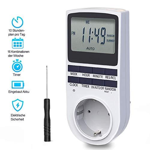Digitale Zeitschaltuhr, BMK Digitale Elektrische Zeitschaltuhr Steckdos Großer LCD-Display und 10 x Programmierbaren Programme und Random Diebstahlsicherung (1er Set)