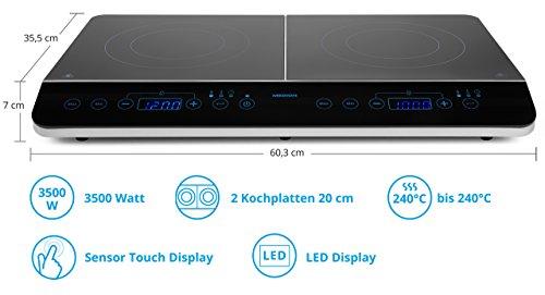 MEDION MD 15324 Doppel-Induktionskochplatte / 3500 Watt / Zwei Kochplatten / 10 Temperaturstufen / LED Display / schwarz
