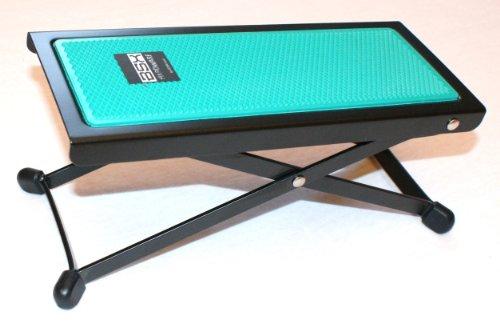 BASIX Gitarren-Fußbank aus Metall mit rutschfester Kunststoffauflage in grün - einfache Höhenverstellung durch Raster (Fußbänkchen)