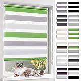 BelleMax Doppelrollo Klemmfix Rollos für Fenster ohne Bohren Klemmrollo Verdunkelung und Lichtdurchlässig 60x150 cm Weiss Grau Grün