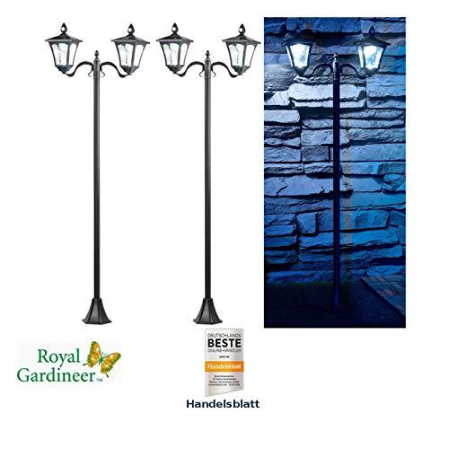 Royal Gardineer Strassenlaterne Solar: 2er-Set Solar-LED-Gartenlaterne, 2 flammig, PIR- & Dämmerungssensor (Laterne mit Bewegungssensor)