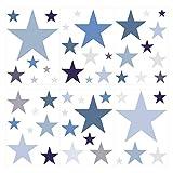 dekodino Wandtattoo Kinderzimmer Wandsticker Set Sterne in Einem zarten Pastell Blau und