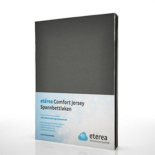 etérea Jersey Spannbettlaken - Serie Comfort - 100% Baumwolle Spannbetttuch Farbe Anthrazit, in der Größe 180x200 - 200x200cm