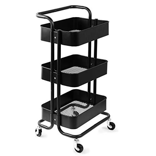 D4P Display4top Metal Rollwagen, 3-Etagen Rollwagen Allzweckwagen Metall mit Körben Küchenwagen für Küche, für Bad (Schwarz)