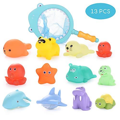 HellDoler Badespielzeug, 13 Stücke Schwimmendes Poolspielzeug für Kinder,Angelspielzeug Set Schwimmende Tiere Fangnetz-Spiel für Babys und Kleinkinder