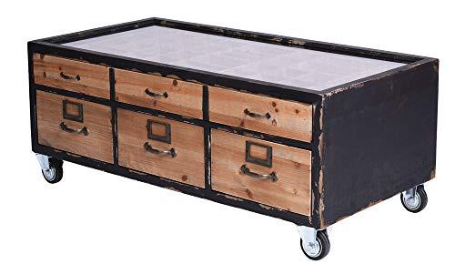 Couchtisch Lofttisch Retro Glasplatte Setzkastentisch Schubladen Tisch auf Rädern lof027 Palazzo Exklusiv