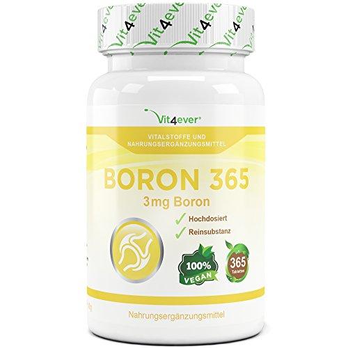 Boron 365, 3 mg pro Tablette, 365 Tabletten, täglich nur 1 Tablette, 1 Jahr Dauerversorgung, Hochdosiert, Vegan, Natriumtetraborat, Spurenelement,VIt4ever