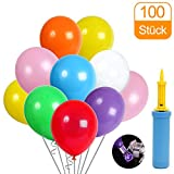 100 luftballons und Ballon-Klipp und 1 Ballonpumpe, luftballons mit pumpe, Luftballon, Partyballon, Farbige Ballons, Bunte Ballons für Geburtstagsfeiern, Party, Hochzeitsfeiern (blau Pumpe) (Mehrfarbig)