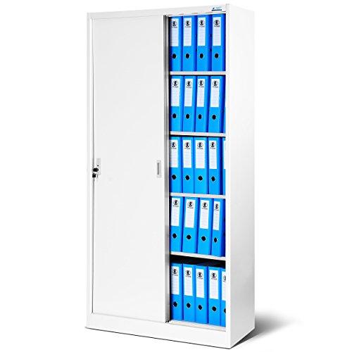 Büroschrank mit Schiebetüren SD001 Stahlblech Fachböden Pulverbeschichtung abschließbar 185 cm x 90 cm x 40 cm (weiß/weiß)