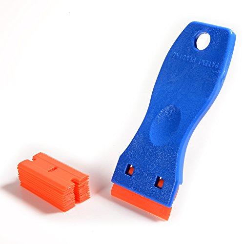 Ehdis 1.5 'High Visibility Mini Razor Kunststoff zweischneidige Klinge Schaber mit 10PCS Kunststoff Razor Schaberklingen für Scraping Etiketten und Abziehbilder aus Glas, Windschutzscheiben